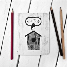 Image of Robin on Birdhouse Notebook - by The Paperbird Society. Blue Jay, Bird Houses, Robin, Notebook, Clock, Notes, Cool Stuff, Pattern, Inspiration