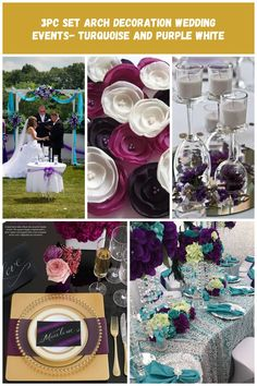 wedding tables purple set Arch decoration wedding events- turquoise and purple white Wedding Tables, Wedding Events, Arch Decoration, Turquoise And Purple, Wedding Decorations, Table Decorations, Designer Wedding Dresses, Wedding Decor, Dinner Table Decorations