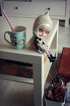 Working with little Teddy as my companion today... by Vainilladolly, via Flickr