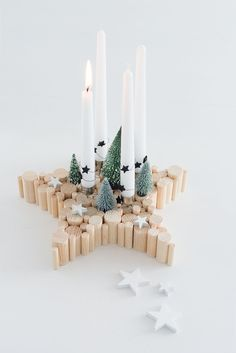DIY Adventskranz aus Naturholz in Sternform