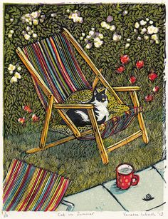 Vanessa Lubach ~ Cat in Summer ~ Linocut, 13 x cm Illustrations, Illustration Art, Crazy Cats, Cat Art, Female Art, Art Inspo, Printmaking, Drawings, Artwork