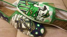 University of Notre Dame Fighting Irish hand painted TOMS. $105.00, via Etsy. This girl is who makes these is from Little Rock!!