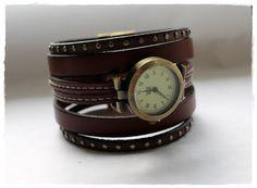 Montre manchette Bracelet en cuir chocolat par KhoutureFactory