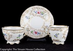 This fine trio of tea cup coffee cup and a single dished saucer is characteristic of early teawares where because these items were so expensive and people wished to economise!