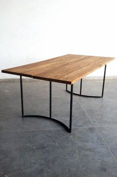 Made from beautiful and smooth reclaimed teak Dining Table. Split down the center of top makes for a conversation starter or crumb pusher-offer. Steel Furniture, Industrial Furniture, Table Furniture, Furniture Design, Dinning Room Tables, Teak Dining Table, Wood Table, Wood And Metal, Decoration