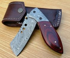 NEW CUSTOM HAND MADE DAMASCUS STEEL TANTO LOCKABLE FOLDING KNIFE F-64