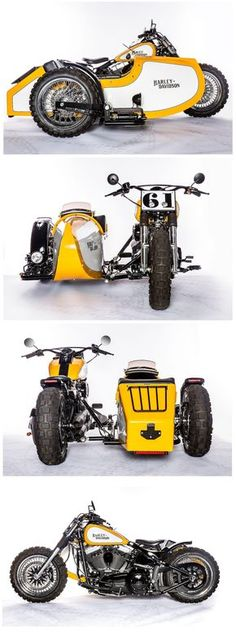 An awesome Harley Davidson Softail Fat Boy with a sidecar by Hardcore Customs.