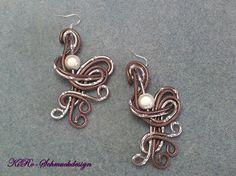 Ohrhänger - Extravagante Alu-Ohrhänger in Silber/Braun - ein Designerstück von KiRoWeb-Schmuckdesign bei DaWanda