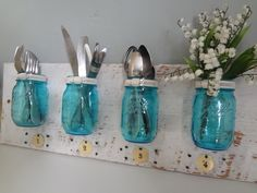 Wall Mounted Mason Jar Organizer by SharonMfortheHome on Etsy