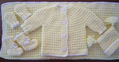 "BABY SET  ""Woven Style Knit Pattern""   BLANKET, HAT, MITTENS, BOOTIES AND SWEATER   LARGE PREEMIE OR SMALL NEWBORN   Free pattern for char..."