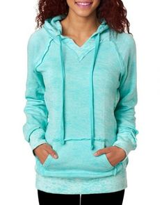 Refreshing Candy Color Hooded Pocket Spliced Pullover Hoodie For Women