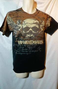 Mens Licensed Harley Davidson T Shirt Small w/ Skull & Wings Design