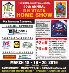 Announcing the 2016 NH State Home Show produced by the NH Home Builders Association in Concord, NH Concord Nh, Home Builders Association, Print Ads, Over The Years, Design, Design Comics, Print Advertising