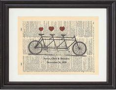 Bicycle Built For Three Tandem Bike Art Print  by TexasGirlDesigns, $12.00