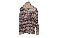Ralph Lauren Hooded Sweater Brown Beige Leightweight Pullover