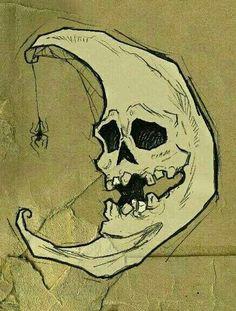 Skelemoon by *Abigail Larson Kunst Inspo, Art Inspo, Theme Halloween, Halloween Moon, Retro Halloween, Halloween Skull, Happy Halloween, Abigail Larson, Arte Obscura