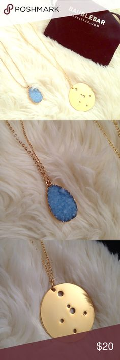 Baublebar long pendant necklace(set of 2) Bundle of two long pendant necklaces from baublebar. Both feature a long adjustable gold chain. Necklace 1 had a faux druzy pendant in a gorgeous cornflower blue. Necklace 2 has a gold disc with perforations in the shape of a constellation. Both are brand new but tag is attached to only one. Free jewelry pouch baublebar Jewelry Necklaces