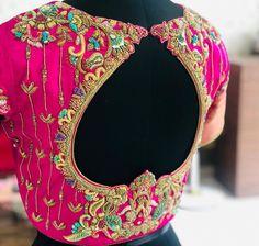 No photo description available. Best Blouse Designs, Wedding Saree Blouse Designs, Pattu Saree Blouse Designs, Dress Neck Designs, Wedding Blouses, Drape Dress Pattern, Traditional Blouse Designs, Hand Work Blouse Design, Designer Blouse Patterns