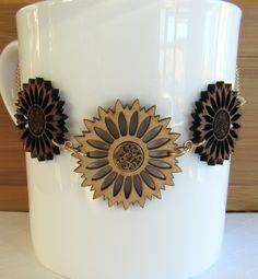 Gold & Wood Sunflower Pendant Necklace, Flower Necklace, Sunflower Jewelry, Gold Pendant, Yellow Flower, Wildflower Necklace,Bib Necklace by giveitengraved on Etsy