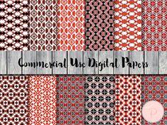 Folk Style Digital Paper Bohemian Digital Papers by MagicalStudio