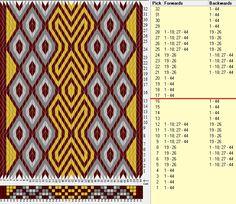 44 cards, 4 colors, repeats every 16 rows, GTT༺❁ Inkle Weaving, Inkle Loom, Card Weaving, Tablet Weaving Patterns, Loom Patterns, Finger Weaving, Bobbin Lace, Needlework, Bohemian Rug