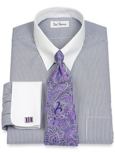 Non-Iron 2-Ply 100% Cotton Pinpoint Snap Tab Collar French Cuff Dress Shirt from Paul Fredrick