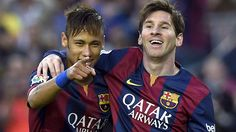 Lionel Messi and Luis Suarez scored twice as Barcelona thrashed Getafe 6-0 to hand Real Madrid an ominous La Liga title warning on Tuesday.