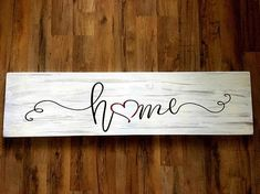 """""""Home"""" Heart replaces the """"o"""" in """"Home"""" This Home sign is made of ALL wood and paint, no vinyl. This is a very big sign! Approximately Will come ready to hang Will ship in 3 5 business days! Diy Wood Signs, Rustic Signs, Home Wood Sign, Wooden Pallet Signs, Wood Signs Sayings, Wooden Boards, Country Signs, Wall Signs, Rustic Farmhouse Decor"""