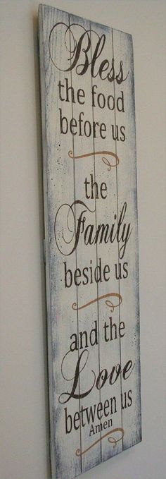 Bless The Food Wood Before Us Wood Sign Pallet Sign Dining Room Decor - March 17 2019 at Shabby Chic Dining Room, Dining Room Wall Decor, Shabby Chic Bedrooms, Shabby Chic Kitchen, Shabby Chic Homes, Shabby Chic Furniture, Shabby Chic Decor, Room Decor, Furniture Dolly