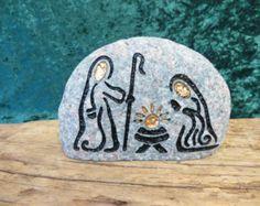Grabado de Natividad Natividad coleccionable único piedra Natural