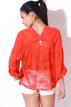 1015store.com-orange red sheer chiffon lace back button up tunic blouse-$15.00