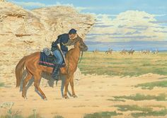 A 7th Cavalry trooper remains hidden, while a threatening party of Cheyenne Warriors race past him and storm clouds build in the distance.  Jerry utilized the beautiful and historic setting of the Monument Rocks, near the Smoky Hill River Valley in Western Kansas, as the background for this dramatic image.