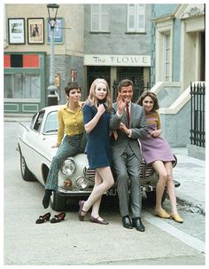 Roger Moore, Volvo P1800 with the girls, fond memories .