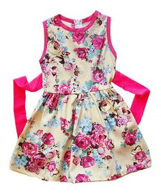 Love this Yellow & Pink Floral Sash Dress - Toddler & Girls on #zulily! #zulilyfinds