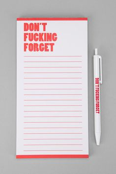 Urban Outfitters - Nasty Notepad - I need this!