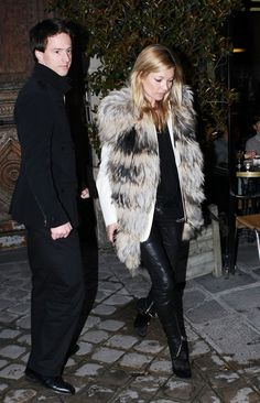 la modella mafia Kate Moss Fall Winter 2012 2013 street style inspiration 6 - rock and roll fur vest leather pants