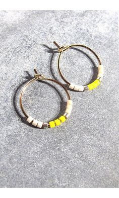 Tassia Canellis mini-créoles Maya jaune #hoop #jaune #yellow #tassiacanellis #creoles #boucles #earrings #madeinfrance