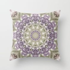 Lilac and Green Mandala Throw Pillow