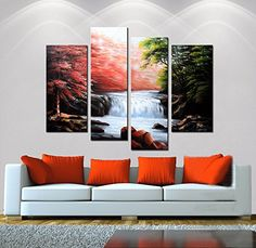 """Hand-Painted """"Waterfall"""" 4-Piece Gallery-Wrapped Flower Oil Painting On Canvas Wall Art Deco Home Decoration Artland http://www.amazon.com/dp/B00ZZJ3S0K/ref=cm_sw_r_pi_dp_171Pvb0N2BJY4"""