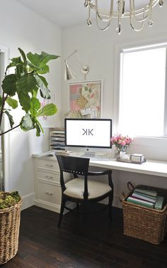 Office, built in desk, wall sconces