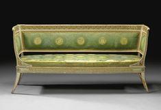 Set di dieci sedie e un divano in legno intagliato, dipinto e dorato<br>Milano, <P>circa 1835</P>   lot   Sotheby's