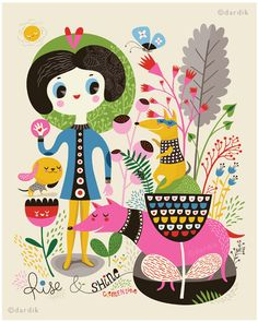 Rise and Shine... Clementine - limited edition giclee print of an original illustration