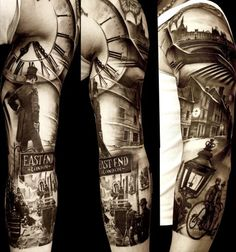 by Matteo-Pasqualin on InkArmy.com | Being from Manchester meself (not a typo!) I can't see myself having a tattoo of London... I'm just kidding Southerners. But this is quite possibly one of the most striking pieces I've seen. The photographic quality is what appeals to me. I'm beginning to think I have a multiple personality when it comes to the kinds of tattoos I like. Right now, I'm thinking Sherlock Holmes (Ah, Dr. Watson, put the kettle on, hey what).