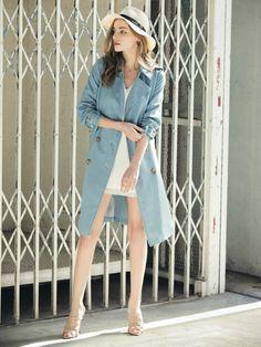 リゼクシー│RESEXXY公式ファッション通販|ランウェイチャンネルソフトデニムロングトレンチコートの詳細情報| RUNWAY channel(ランウェイチャンネル)(151610006600)
