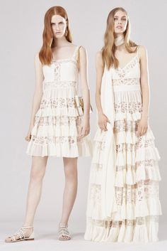 Elie Saab Resort 2016: I love these fun, flowy dresses for summer! The white dresses with the sheer embroidered lace is on trend for summer!