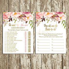 Bridal Shower Games Package Floral Bridal Shower Games