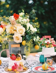 Table setting with tangerines