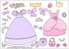 Princess paper dolls and outfits in color or to be colored.