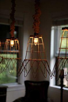 Repurposed Lighting from Rimmed Wire Baskets - http://www.interiorredesignseminar.com/interior-design-ideas/repurposed-lighting-from-rimmed-wire-baskets/
