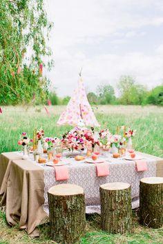 Bohemian bridal shower inspiration shoot with a pink teepee | Cassandra Photo